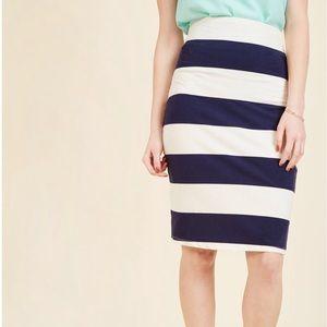 ModCloth Stripes Pencil Skirt Navy White - L